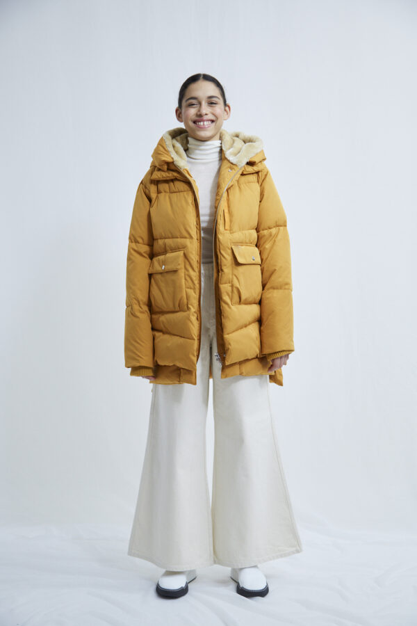 Lyndon Down Jacket, Inca Gold - 193 - Embassy of Bricks and Logs - Anna Vatheuer Photo - Premium Ethical Outerwear