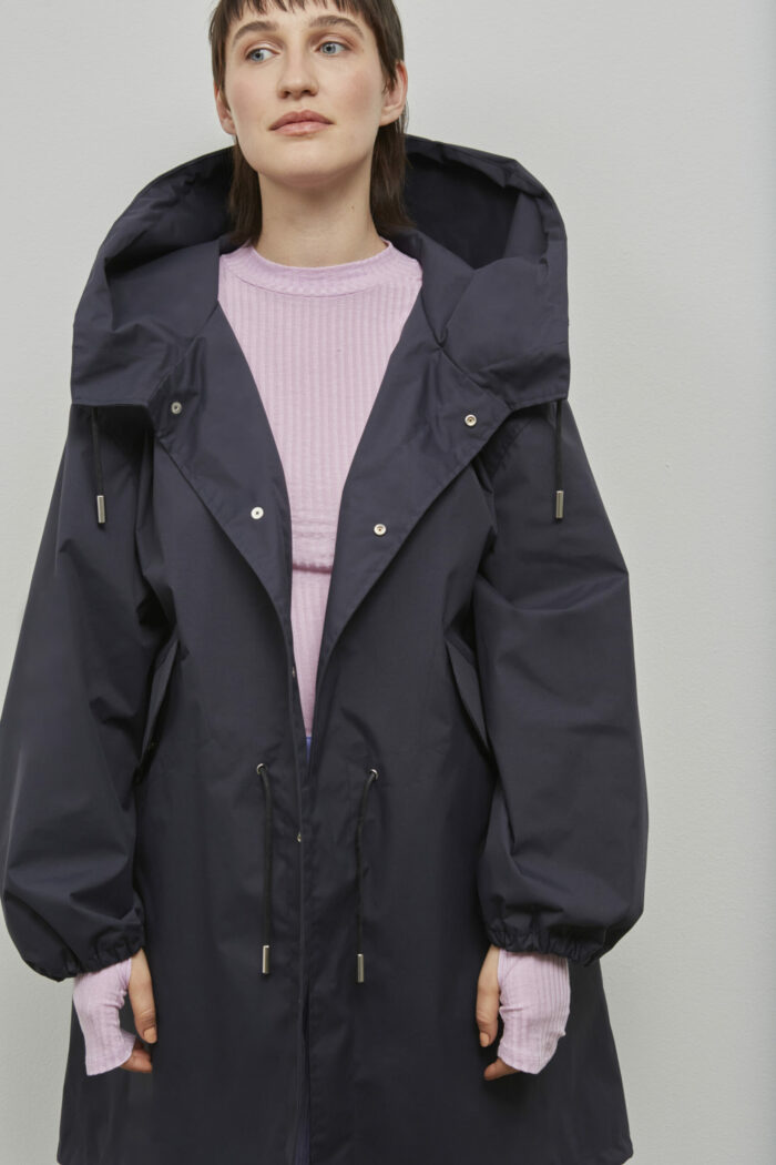 Embassy of Bricks and Logs Bundaberg Coat in Dark Navy - Vegan Ethical Outerwear