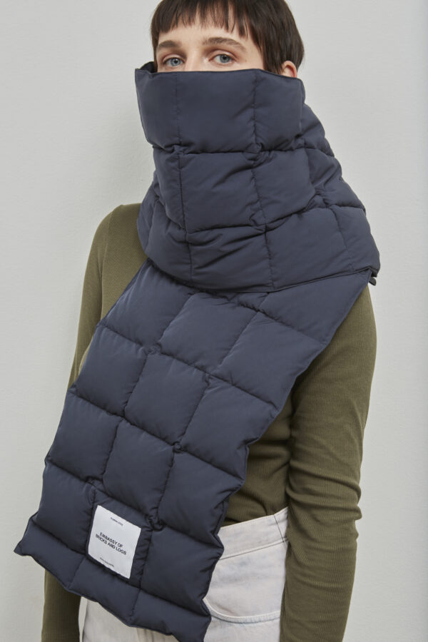Embassy of Bricks and Logs Dubbo Puffer Scarf in Dark Navy - Vegan Ethical Outerwear