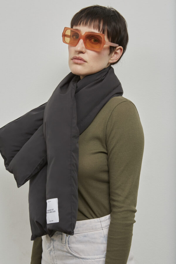 Embassy of Bricks and Logs Harvey Puffer Scarf in Black - Vegan Ethical Outerwear