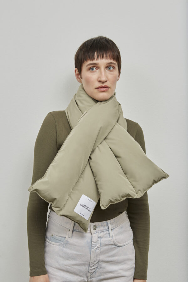Embassy of Bricks and Logs Harvey Puffer Scarf in Pale Olive - Vegan Ethical Outerwear