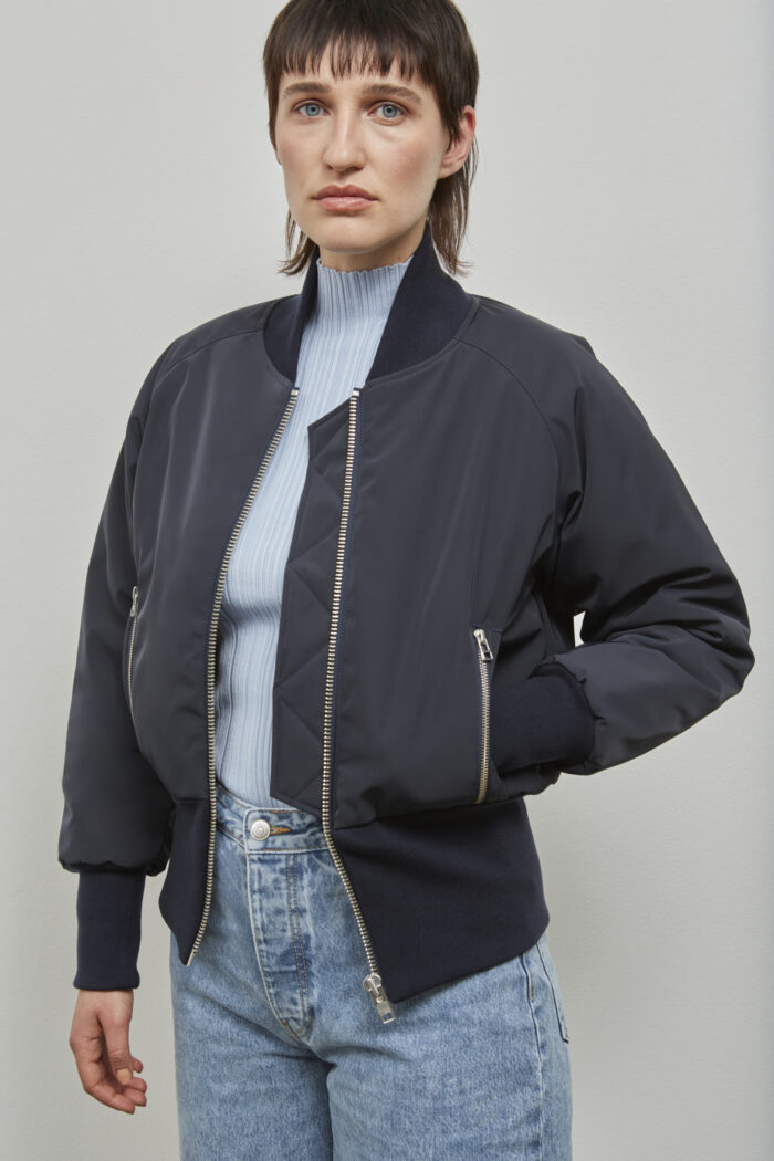Embassy of Bricks and Logs Victoria Bomber in Dark Navy - Vegan Ethical Outerwear