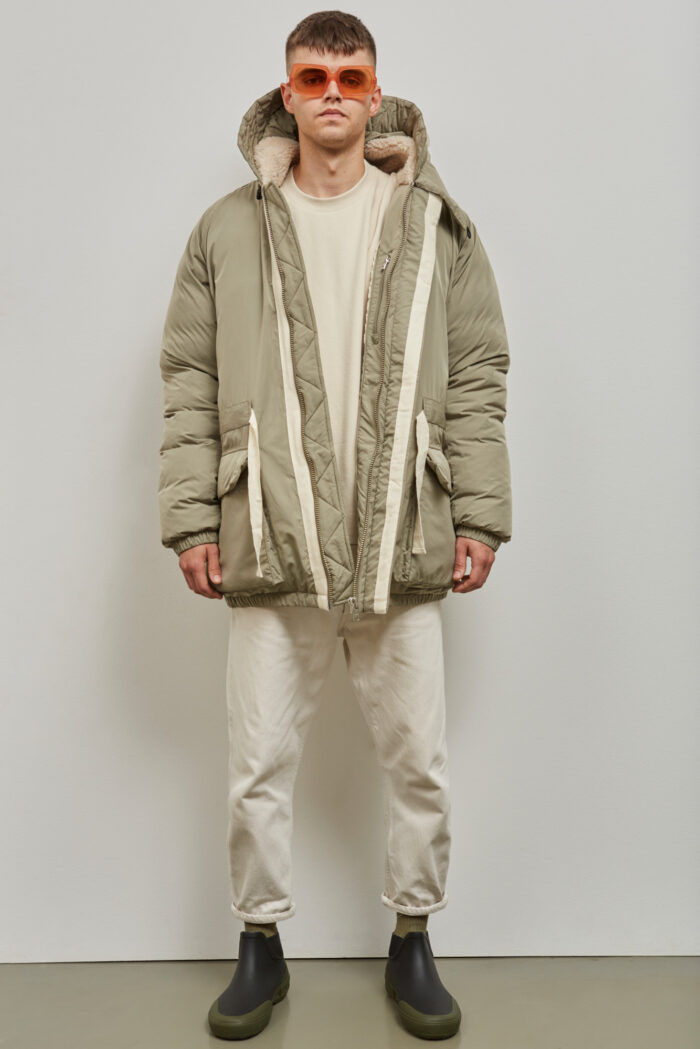 Embassy of Bricks and Logs Addison Puffer Parka in Pale Olive- Vegan Ethical Outerwear