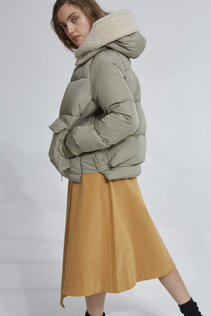 Leicester Puffer Jacket, Pale Olive - 203 - Embassy of Bricks and Logs - Anna Vatheuer Photo - Premium Ethical Outerwear