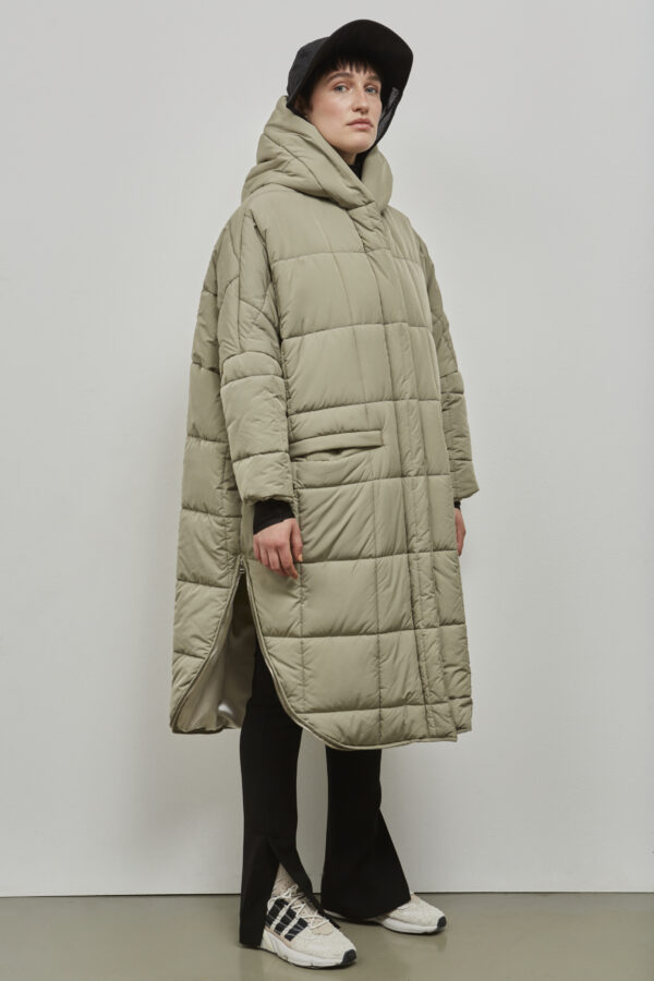 Embassy of Bricks and Logs Saskatoon Puffer Parka in Pale Olive- Vegan Ethical Outerwear