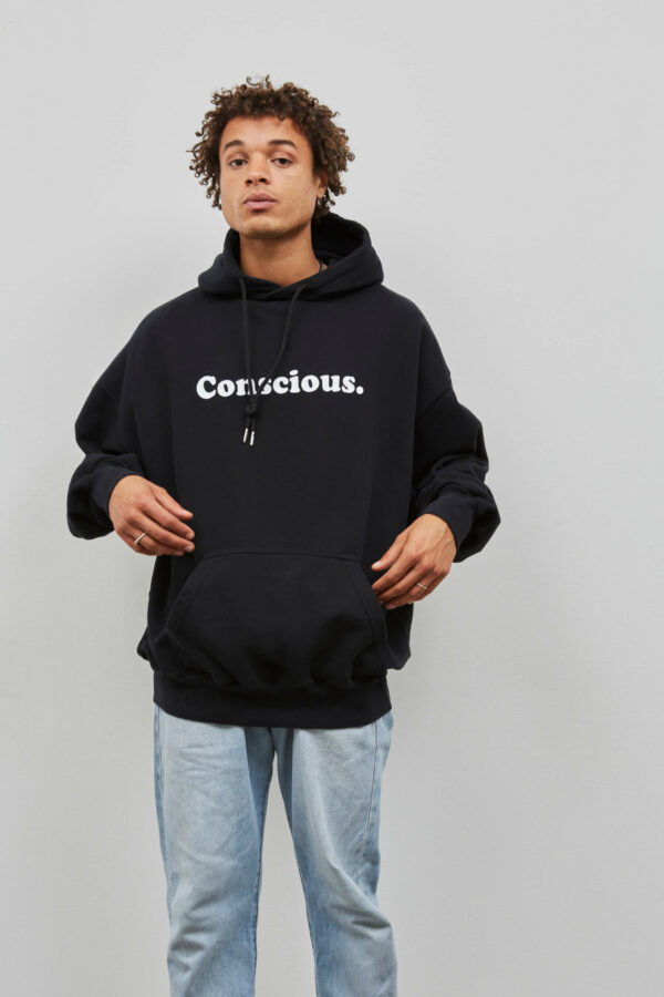 Conscious Hoodie in Black - Embassy of Bricks and Logs - Vegan Ethical Outerwear